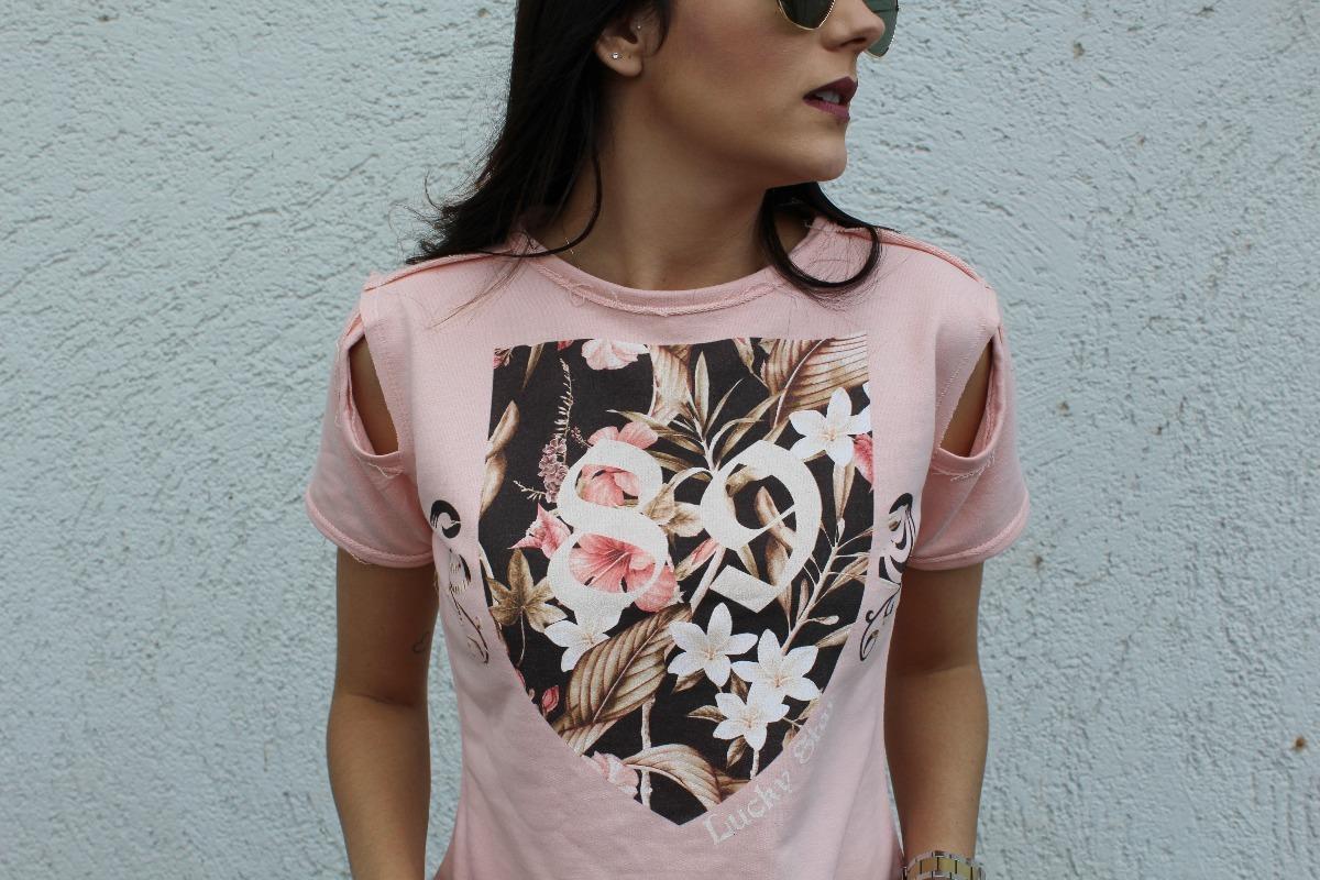 blusa feminina de moletinho detalhe ombro rosa estampada 213. Carregando  zoom. e5b3c70adb7c4