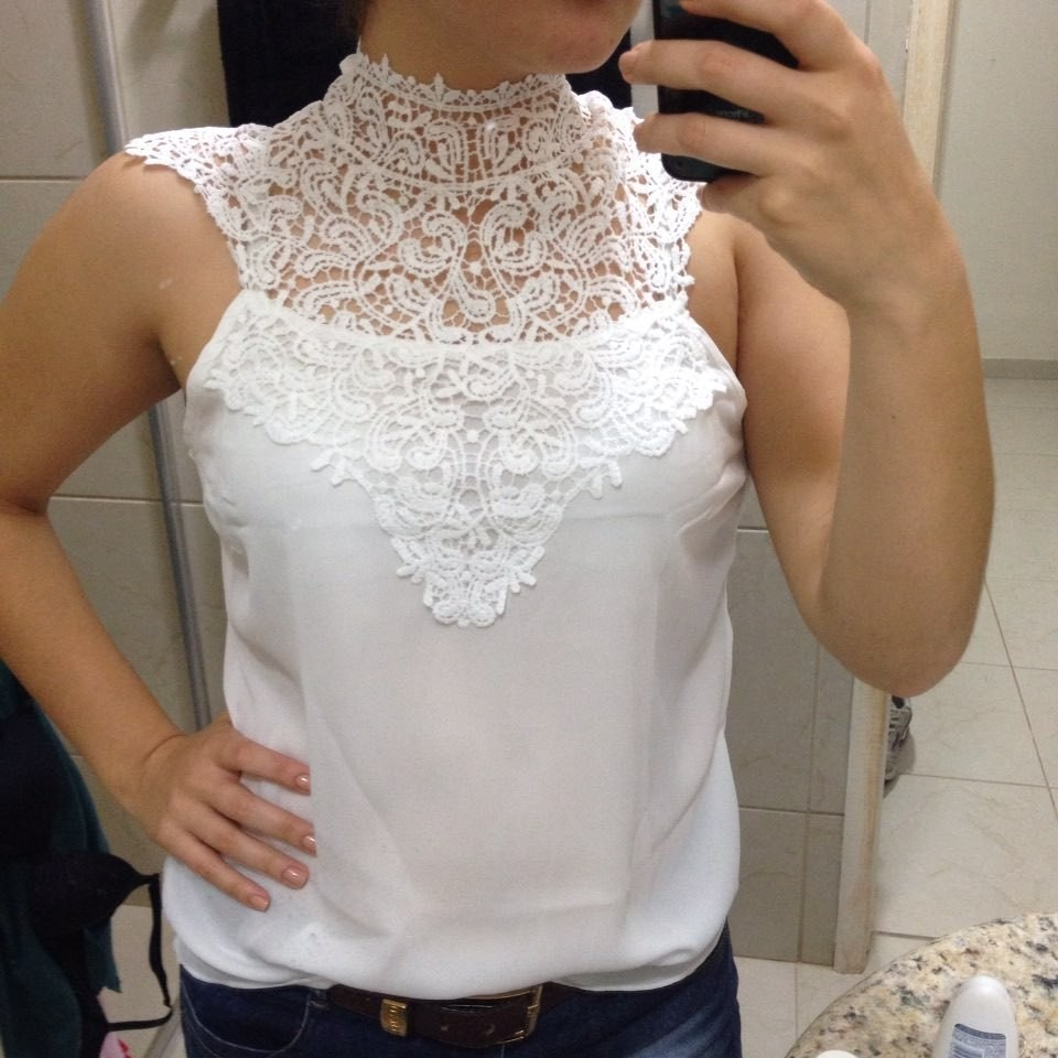 d58c95b0b5 blusa feminina de renda tecido chiffon frete grátis. Carregando zoom.