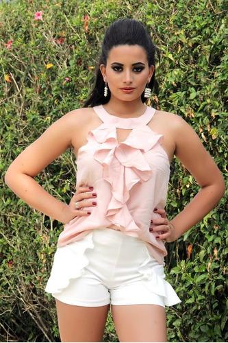 blusa feminina de tecido com babados