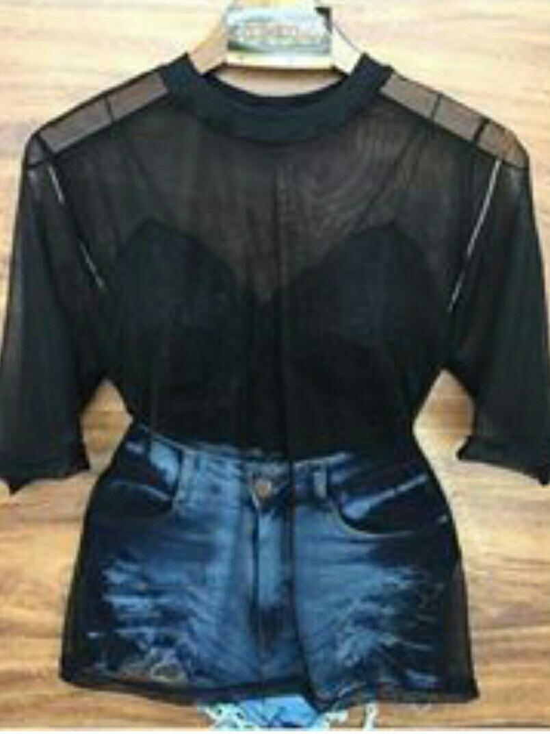 c436ddb37f blusa feminina de tule preta transparente moda 2017. Carregando zoom.