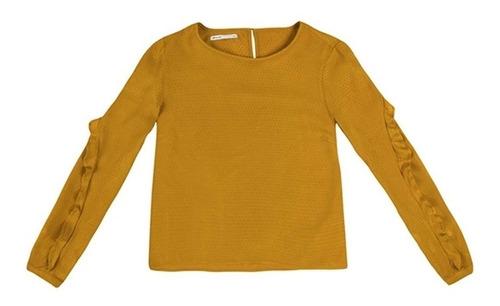 blusa feminina de viscose texturizado com babado hering