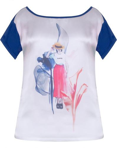 blusa feminina em cetim estampado e malha azul seiki 531662