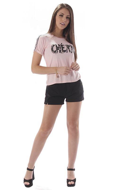 90b810fbbc blusa feminina em malha com estampa e pérola. Carregando zoom.