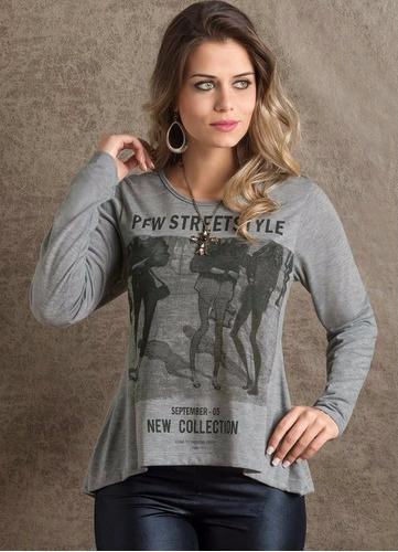 blusa feminina em malha manga longa estampada outono inverno