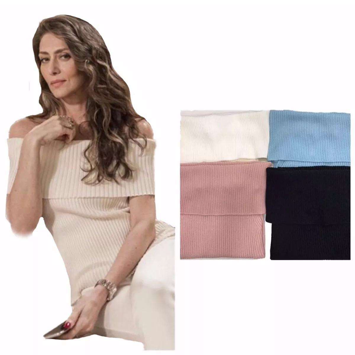 f1bd7e73f blusa feminina em tricot tricô ombro a ombro canelada joyce. Carregando  zoom.