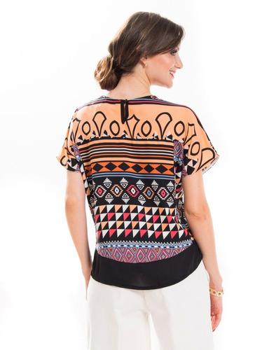blusa feminina estampa jovem senhora soltinha leve (05660)