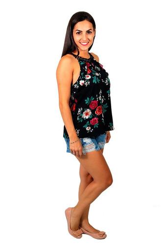 5004cf50b Blusa Feminina Estampada Com Detalhe Em Renda Guipir Preta - R$ 46 ...