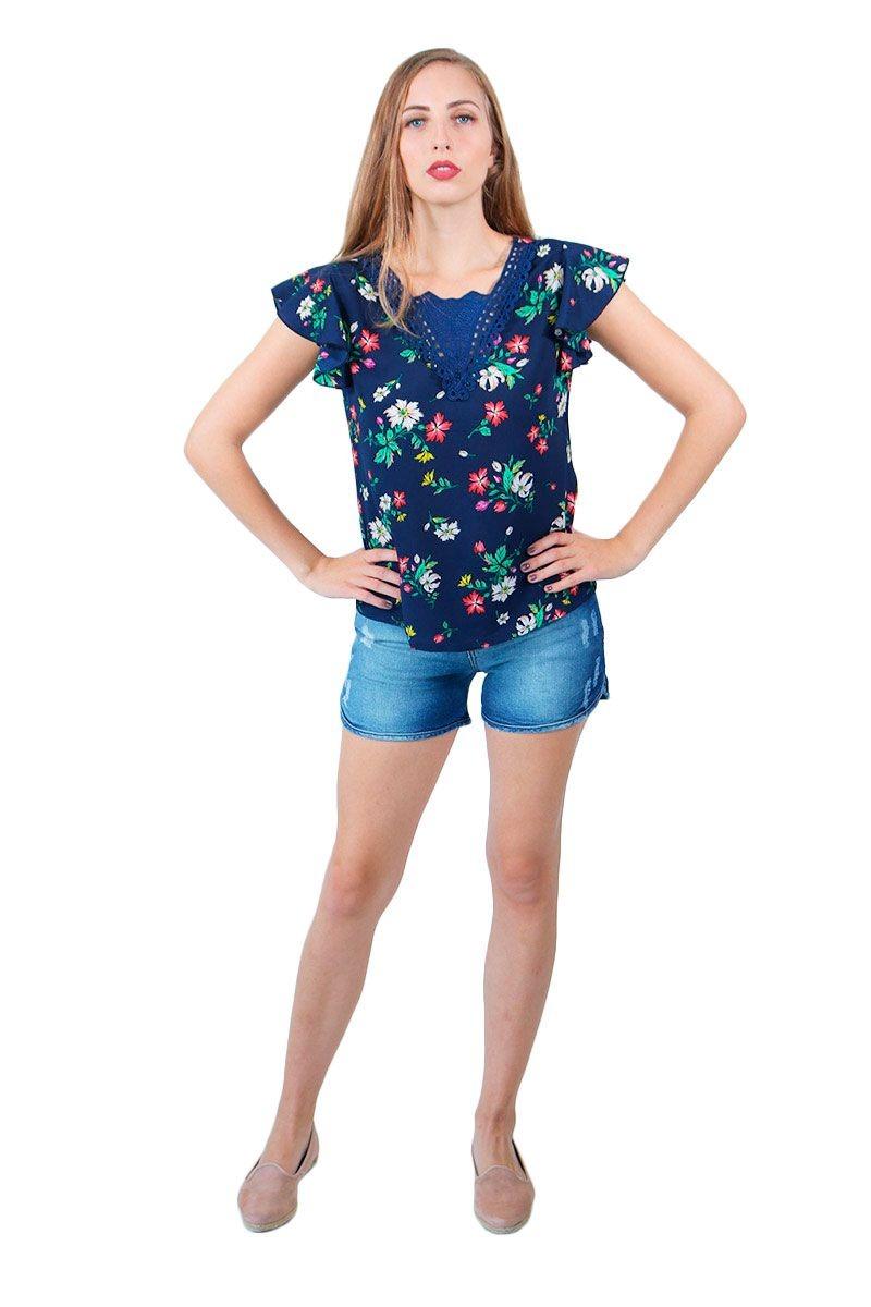 48252935f Blusa Feminina Estampada Com Renda Guipir Azul Marinho - R  46