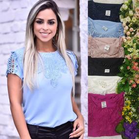 7364a09f3bc3 Linda Blusa Suplex Com Renda - Calçados, Roupas e Bolsas com o Melhores  Preços no Mercado Livre Brasil