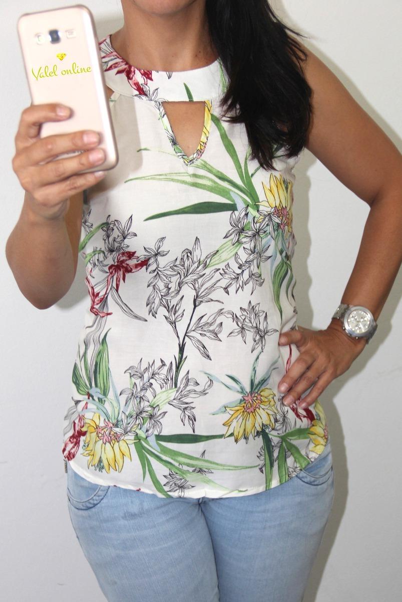 blusa feminina florida regata gola alta. Carregando zoom. 0ca3d11c8bb