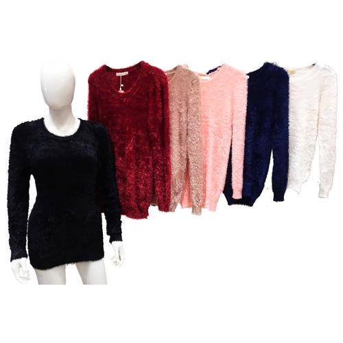 blusa feminina frio sweater pelo felpudo fuzzy inverno 2017