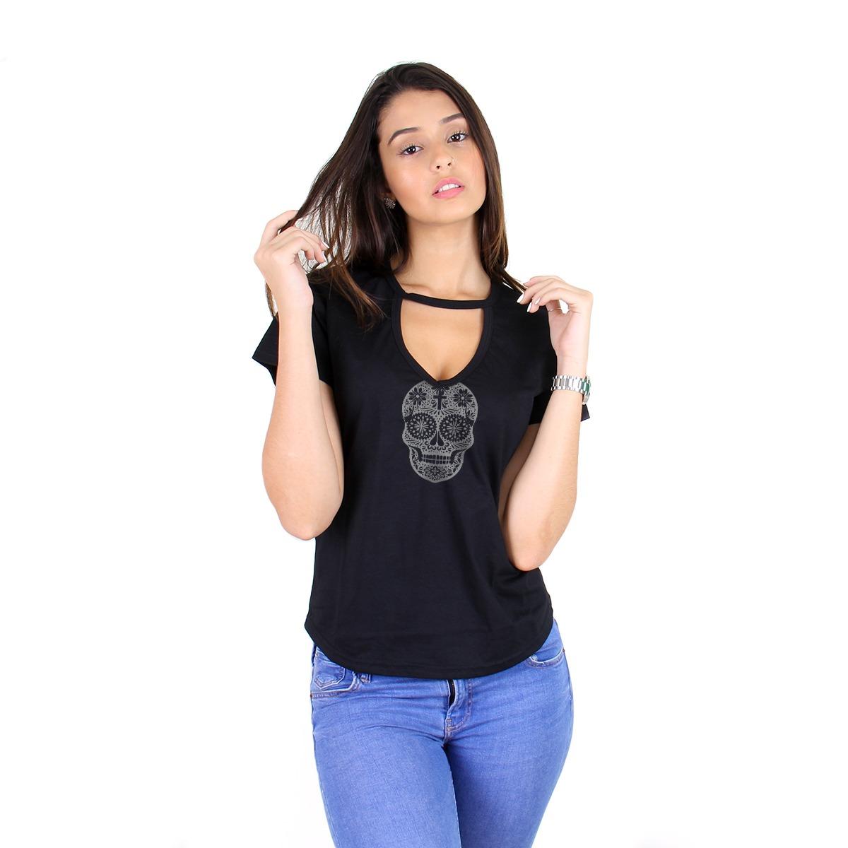 a852dd344b blusa feminina gola choker caveira mexicana moda blogueira. Carregando zoom.