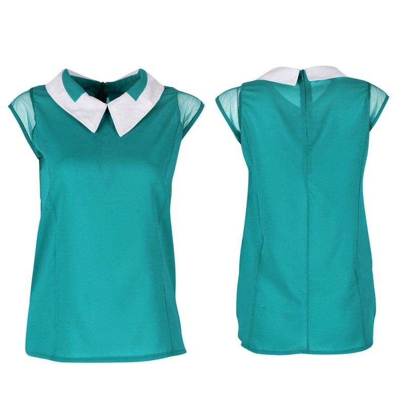 9bec8fca02 blusa feminina gola peter pan blusa chifon feminina. Carregando zoom.