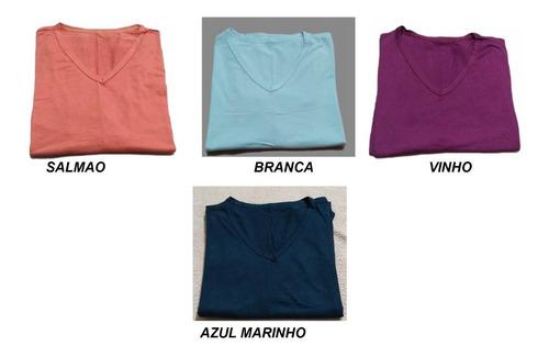 blusa feminina gola v manga longa kit 10 peças promoção