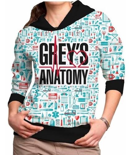 blusa feminina grey's anatomy capuz casaco moletom roupa frio