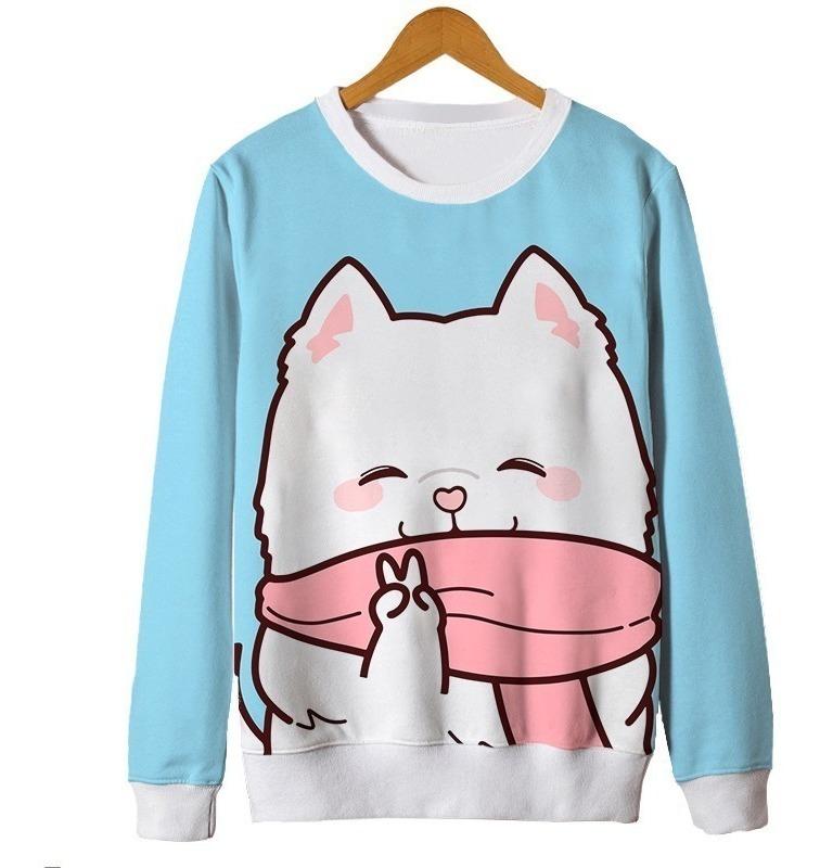 Blusa Feminina Kawaii Gato Cat Fofo Cute Tumblr Desenho R 139