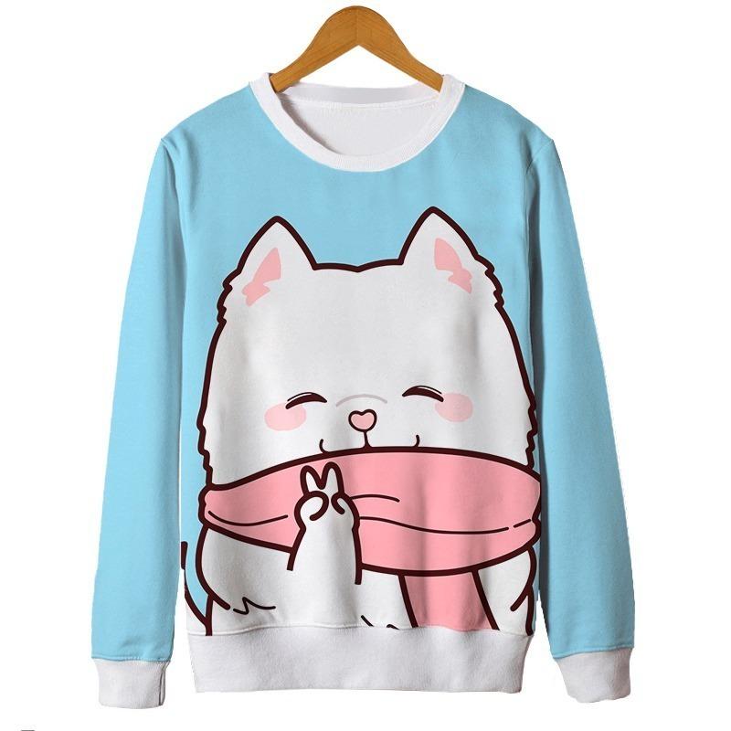 3b8aac1c3 Blusa Feminina Kawaii Gato Cat Fofo Cute Tumblr Desenho R 13990