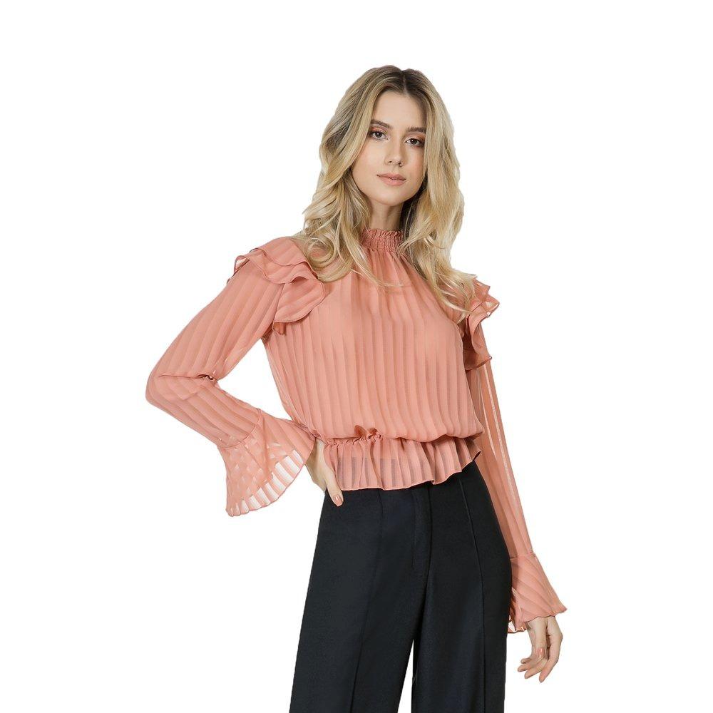 bcf7d2b4a6 blusa feminina lez a lez manga longa babados tecido rosa ... Carregando  zoom.