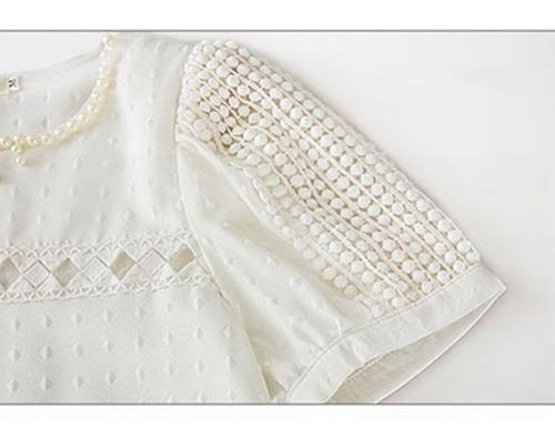 blusa feminina luxo pérolas