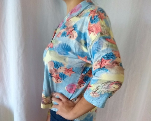 blusa feminina malha estampa marinha