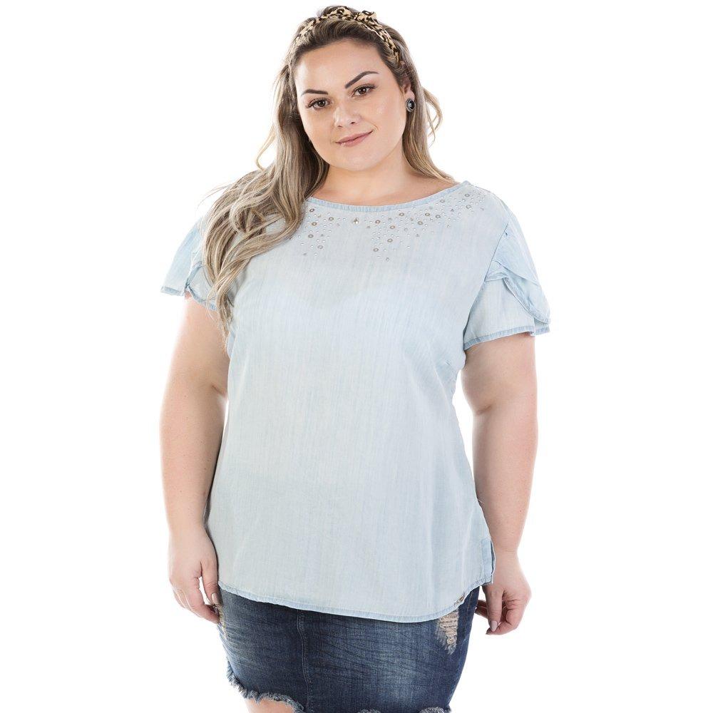 37f86e68a blusa feminina manga curta com pedraria plus size bvm209. Carregando zoom.