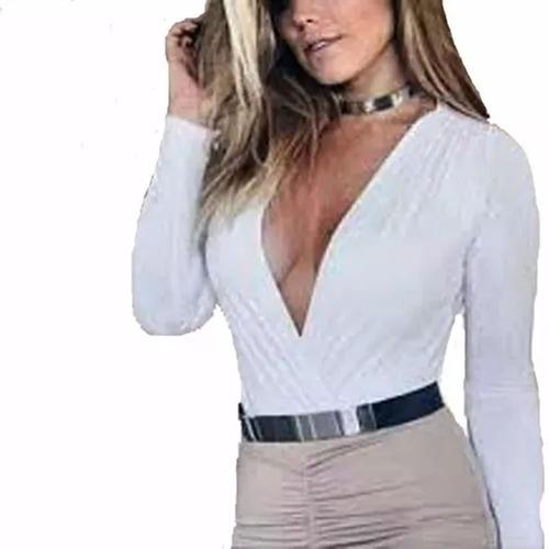 blusa feminina manga longa comprida preta branca body bore