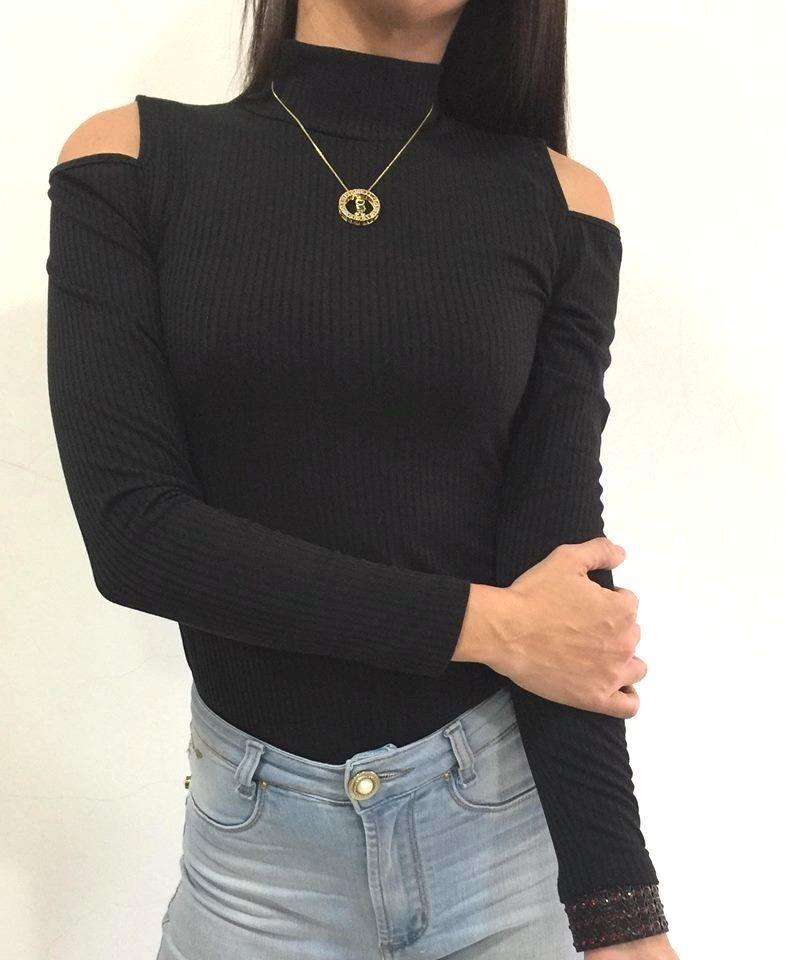 94c2e16c32 blusa feminina manga longa gola alta ombro de fora vazado. Carregando zoom.