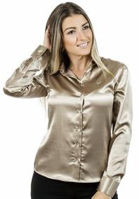1c328f261 Blusa Cetim Dourada - Calçados, Roupas e Bolsas no Mercado Livre Brasil