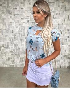 ab71097574 Blusas Chic Mariah - Blusas Feminino Manga Curta no Mercado Livre Brasil