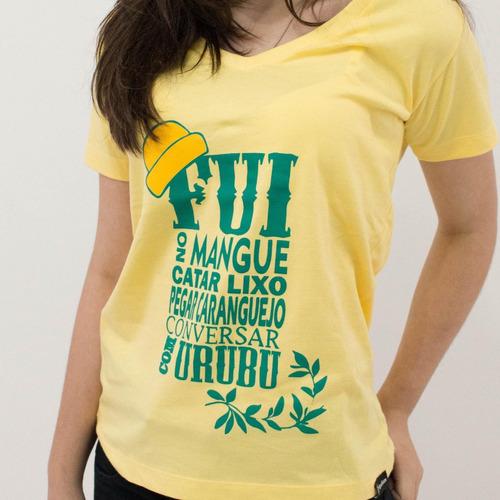 blusa feminina nação zumbi amarela - camisas camisetas