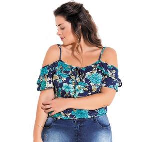 dfa3a18329 Blusa Feminina Plus Size Ciganinha Floral Reguladores Alças