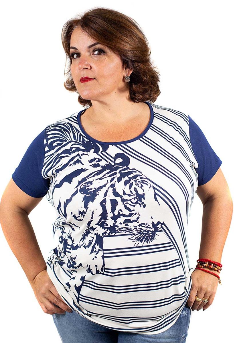 e9064d4a2f blusa feminina plus size com estampa e strass azul marinho. Carregando zoom.