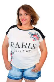 ef1253236 Blusa Feminina Plus Size Com Estampa Silk Paris Bege
