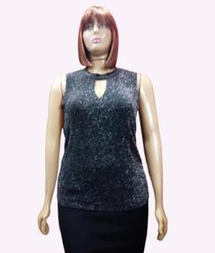 de3af21d7 Blusa Feminina Plus Size De Festa Lurex Noite Brilhante-554