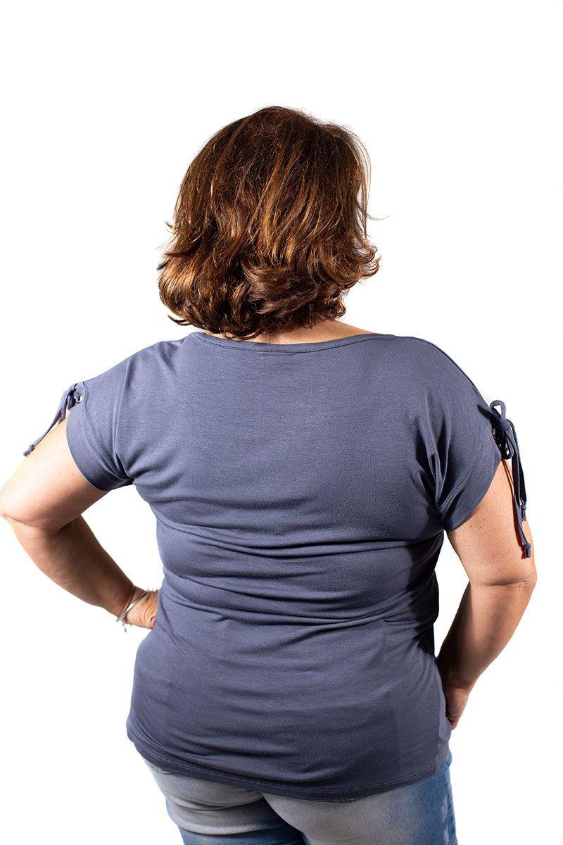 e64fd9664f blusa feminina plus size estonada cinza escuro. Carregando zoom.