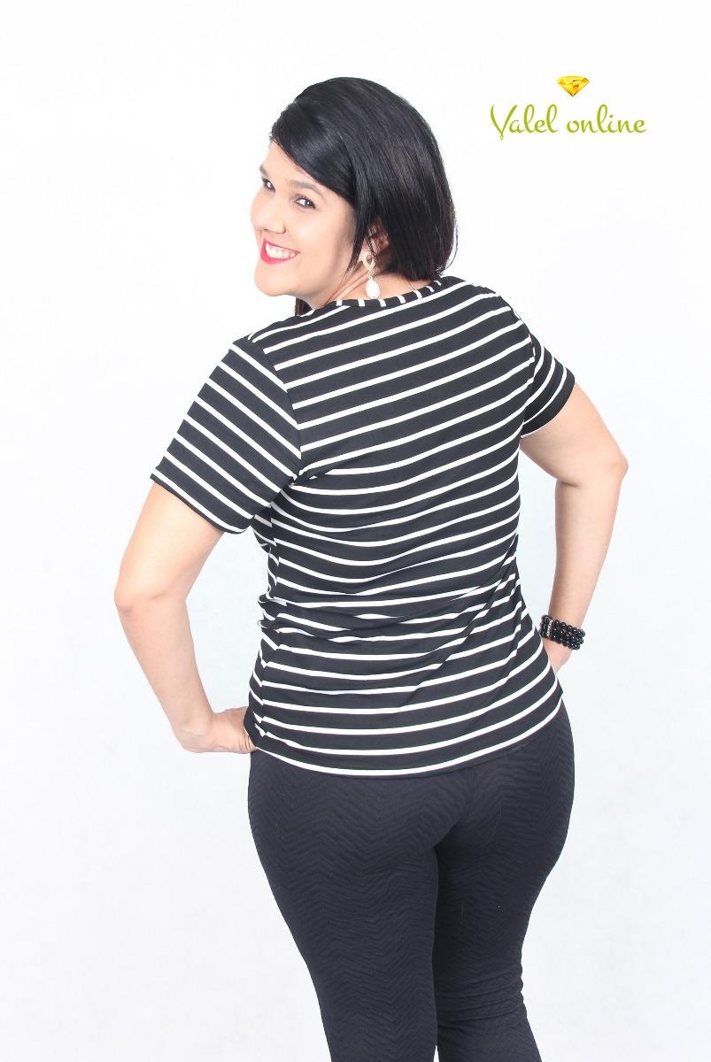 018b68c3a blusa feminina plus size listrada com detalhe na gola. Carregando zoom.