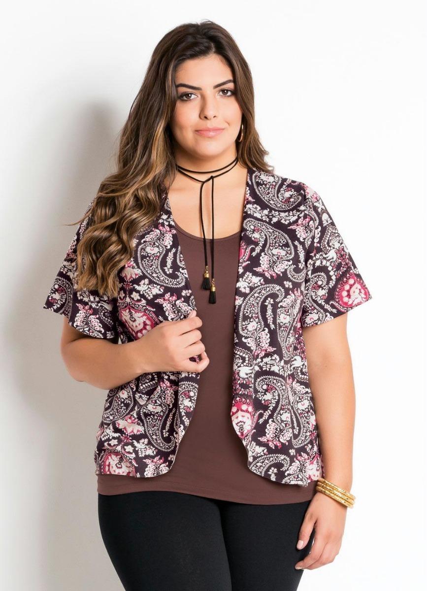 f343c75854 blusa feminina plus size manga curta estampa étnica barato! Carregando zoom.