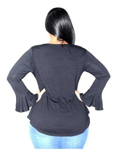 blusa feminina plus size manga longa sino em viscolycra