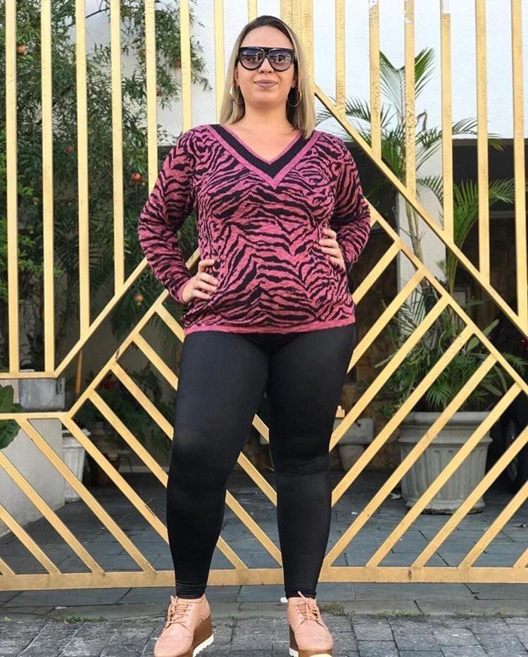 b62132126c blusa feminina plus size manga longa tricot listrada tricô. Carregando zoom.