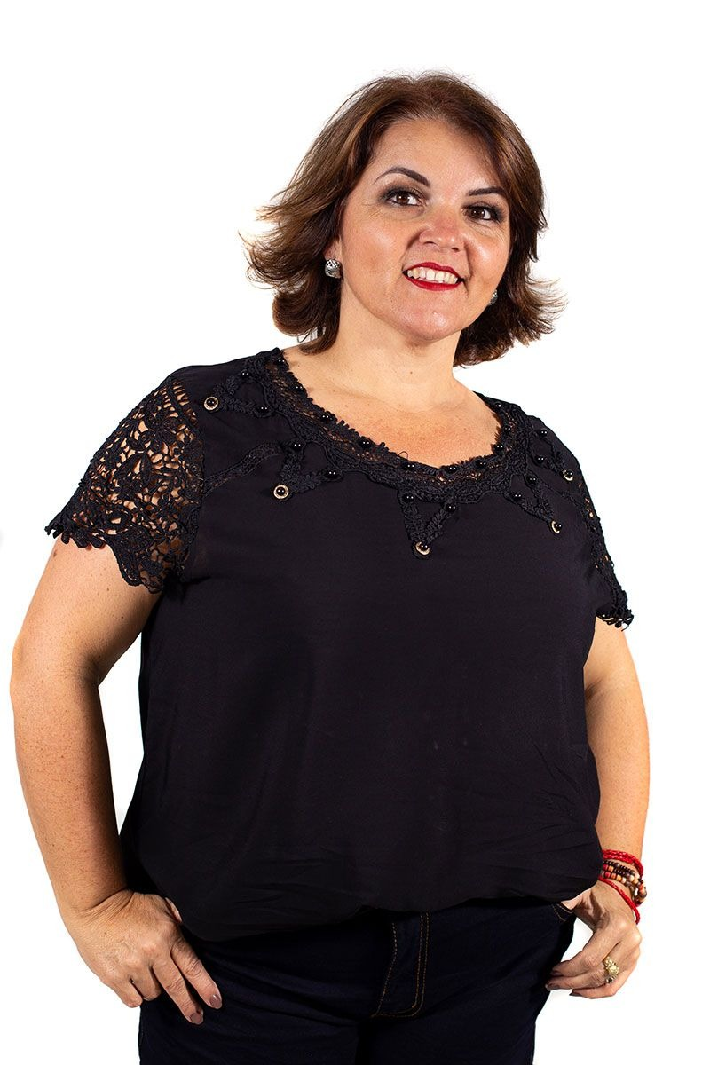 76b685d323 blusa feminina plus size renda pedraria e strass preta. Carregando zoom.
