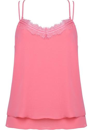blusa feminina regata alça fina com renda e babado rosa seik