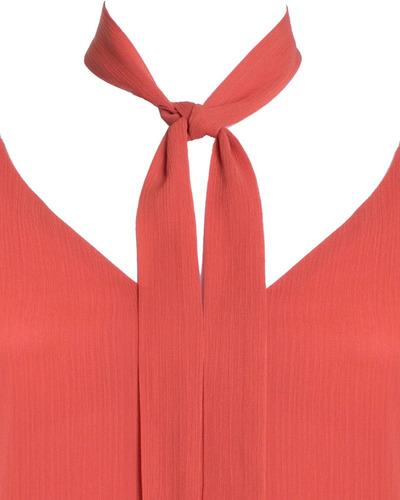 blusa feminina regata com laço alça fina em chiffon laranja seiki 320295
