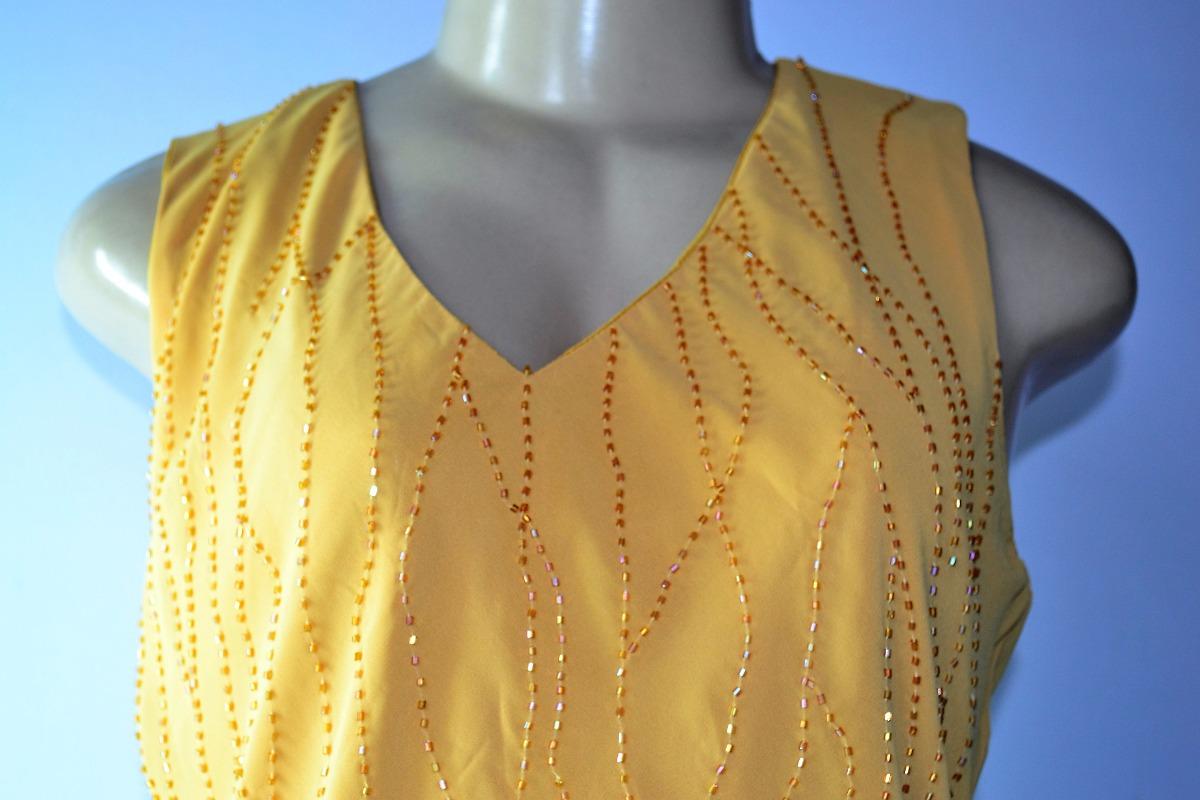 1cb5132d8a blusa feminina regata crepe de seda bordada canutilho tam m. Carregando zoom .