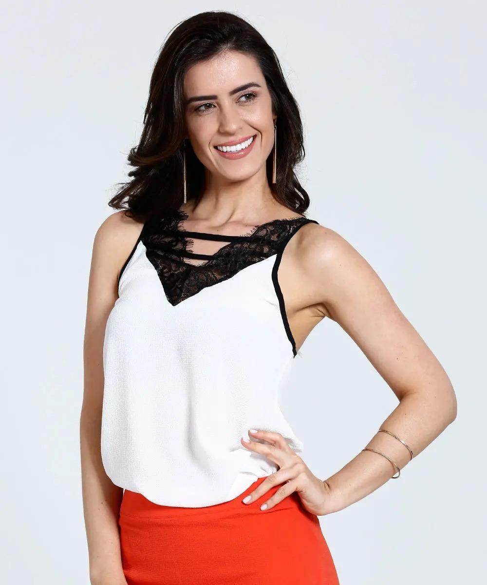 f96ebfa435 Blusa Feminina Regata Crepe Renda Tiras Marisa - Tam. 44 - R  89