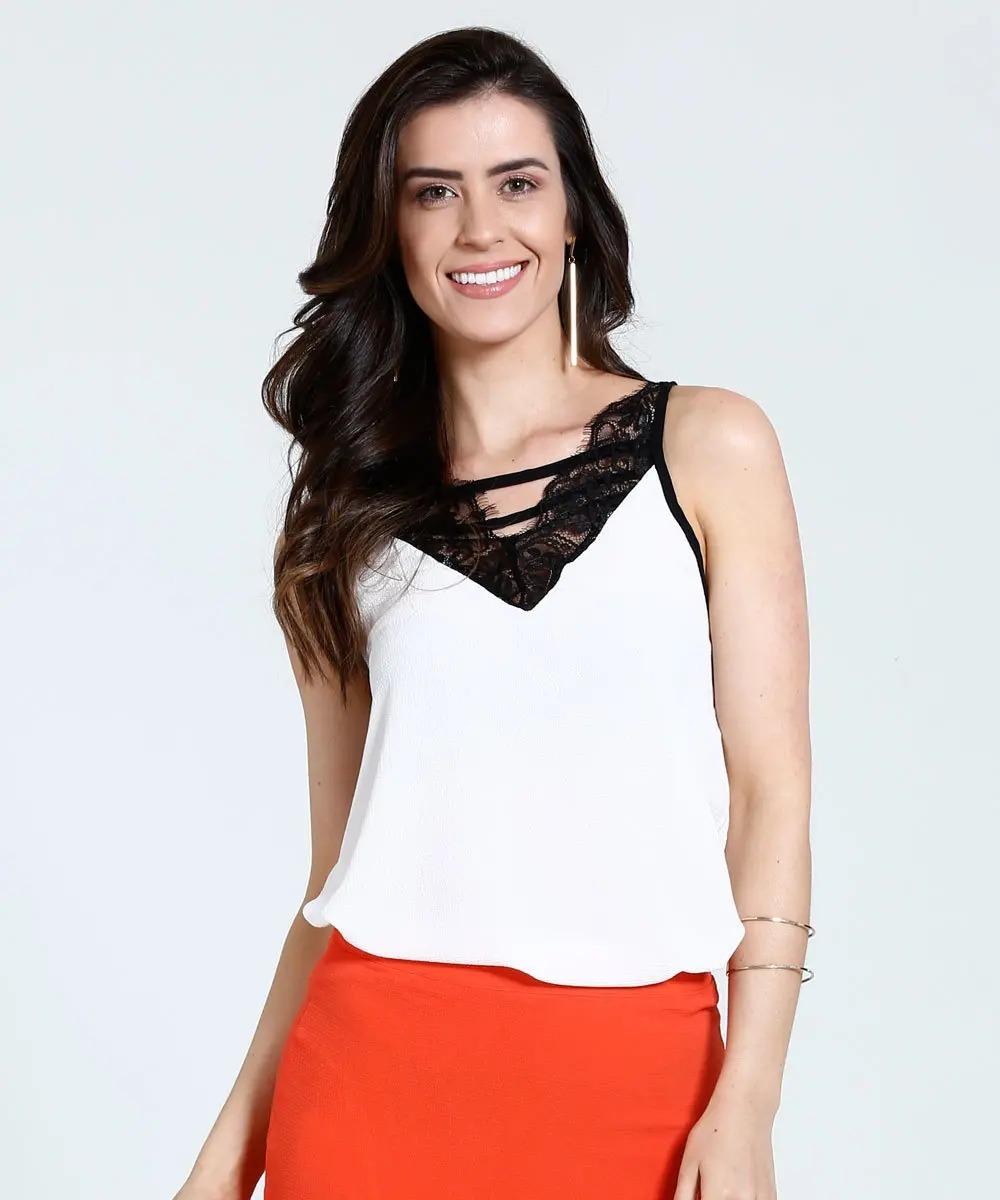 016bfc2e75 Blusa Feminina Regata Crepe Renda Tiras Marisa - Tam. 44 - R  89