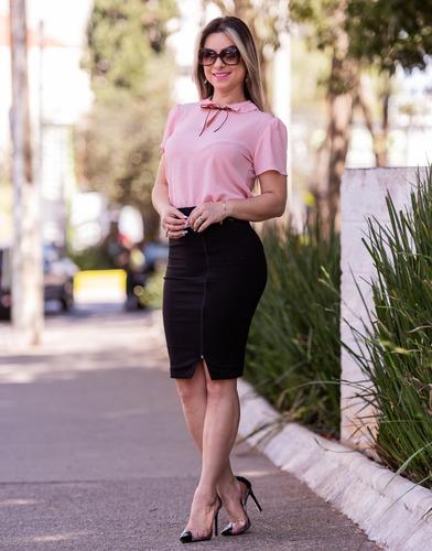 blusa feminina social gota laço manga curta moda evangélica