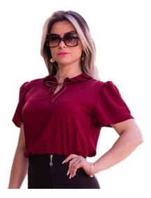 a04561e46a95 Blusa Feminina Social Gota Laço Manga Curta Moda Evangélica