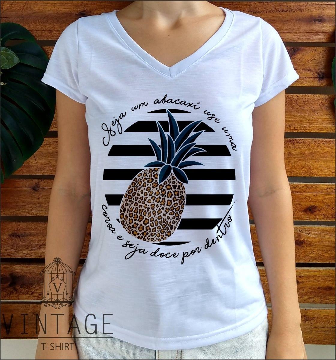 d8215c50b blusa feminina t-shirt flame gola v abacaxi listras onça. Carregando zoom.