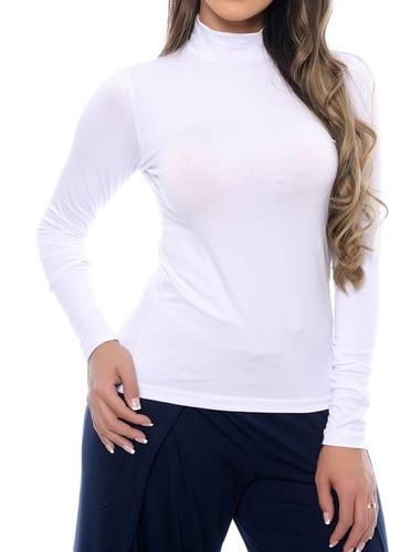 blusa feminina térmica gola alta manga longa uv 50