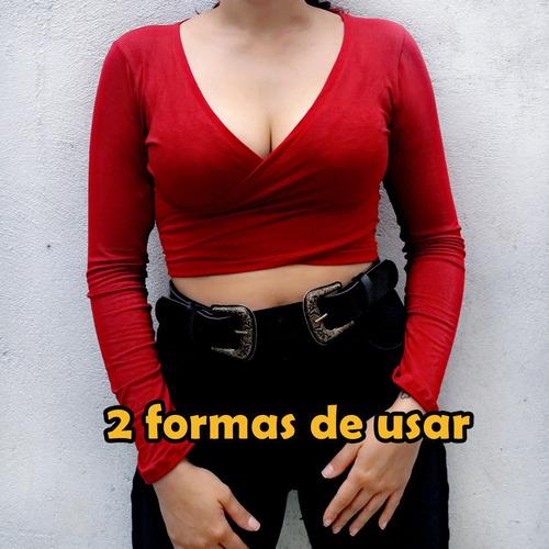 blusa feminina top cropped amarração amarrar manga longa nó